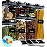 Fiyobo Airtight Food Storage Container Set,7 Pieces BPA Free Plastic Kitchen Organization and Storage with Easy Lock Black Li