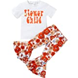 Toddler Baby Girl Summer Outfits Flower Child T-Shirt Floral Flares Bell-Bottom Pants 2Pcs Clothes Set