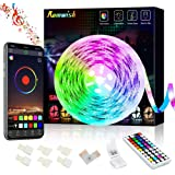 Bluetooth LED Strip Lights 5M, Music Sync Color Changing 5050 RGB LED Light Strip, 44 Keys RF Remote Controll & APP Controlle