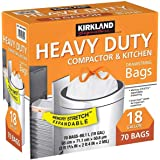 Kirkland Signature Compactor Kitchen Trash Bag with Gripping Drawstring Secure 68.1l 70 ct Smart Fit Gripping Drawstring Garb
