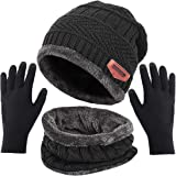 T WILKER Beanie Hat Scarf and Touchscreen Gloves Set for Men & Women Stretch Warm Fleece Lining Cap(2Pcs / 3Pcs)