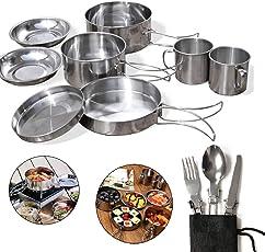 Neho 食器セット キャンピング鍋11点セット携帯袋付 キャンプ用調理器具屋外用食器キット