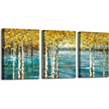 Canvas Art Wall Decor for Bedroom 3 Pieces Framed Wall Art Modern Wall Decorations for Kitchen Dining Room Abstract Yellow Fo