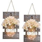 Rustic Grey Mason Jar Sconces for Home Decor, Decorative Chic Hanging Wall Decor Mason Jars with LED Strip Lights, 6-Hour Tim
