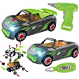 REMOKING Car Toys for Kids, 2 in 1 Take Apart Car Toys with Drill Tool&Sound&Light,Building Racing Car Playing Set, STEAM Edu
