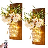 Rustic Wall Sconces Mason Jar Lights Handmade Wall Art Hanging Design with Remote Control LED Fairy Lights and White Peony,Fa