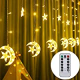 Twinkle Star 138 LED Star Moon Curtain String Lights, Window Curtain USB Powered Lights with Remote Control, 8 Modes Decorati