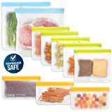 10 Pack Dishwasher Safe Reusable Food Storage Bags (5 Resuable Sandwich Bags, 3 Reusable Snack Bags, 2 Freezer Gallon Bags),