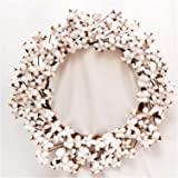 """Cotton Wreath - 23""""- 29"""" Adjustable Stems (As More As 110 Cotton Bolls per Wreath) Made from Real Natural White Cotton Flower"""