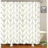 "JTMall Fabric Shower Curtain Set with 12 Hooks Geometric Pattern Gold and White 72"" x 72"" Bathroom Decor Waterproof Machine W"