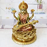 BangBangDa Hindu Lord Goddess Saraswati Statue - Indian Idol Sitting on Lotus Sculpture - India Knowledge, Music, Arts, Wisdo