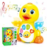 HOLA Dancing Walking Yellow Duck Baby Toy with Music and LED Light Up for Infants, Toddler Interactive Learning Development,