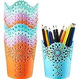 12 Pieces Pen Pencil Holder Cup, Colorful Pen Pencil Holder Basket, Desktop Storage Organizer for Desk Office and School, 6 C