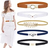 Skinny Belts for Women 5 Pack,EAONE Fashion Dress Belts Stretch Women Waist Belts Plus Size Elastic Waist Band for Dresses