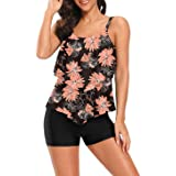 Corfrute Womens Floral Bathing Suits 2 Piece Swimsuits Layered Ruffle Tops with Boyshorts Bottoms Swimwear Tankini Set