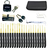 Moli 24pcs Lock Picking Set with Practice Lock,2pcs Transprent Locks with Black Cover Lock Picking Tool for Beginners & Profe
