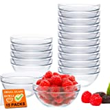 15 Pack 4 Inch Glass Ramekins Bowls, Farielyn-X Mini Glass Prep Dessert Bowls Small for Kitchen Prep, Dessert, Dips, and Cand
