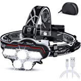 Cobiz Headlamp, USB Rechargeable LED Head Lamp, 27 LED Ultra Bright High Lumen Head Flashlight + Red Light. 6 Modes HeadLamps