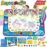 TONBUX Aqua Magic Doodle Mat 60 x 40 Inch Water Drawing Doodling Mat for Toddlers Kids Coloring Mat Educational Toy with Pen