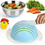 Salad Cutter Bowl, Easy Salad Maker with Stainless Steel Base, Fast Fruit Vegetable Salad Chopper Bowl (Blue)