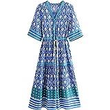 R.Vivimos Women's Summer Cotton Printed Half Sleeve V Neck Flowy Midi Dress