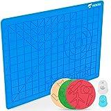 TECBOSS 3D Printing Pens Mat, 3D Pen Pad Silicone Template with Bonus 3 Patterns Mat 2 Finger Protectors - Tools for 3Doodler
