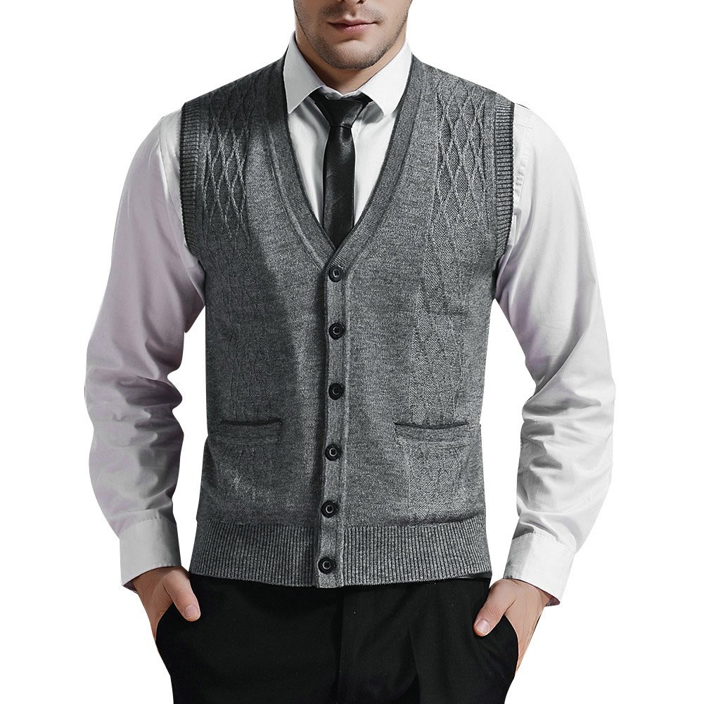 e98aeb0c23485 Zicac Men s V - Neck Button - Up Business Sweater Vest