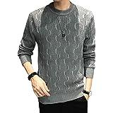 [メリュエル] セーター M~2XL デザイン プルオーバー クルーネック ワンポイント タグ 長袖 メンズ