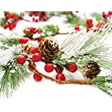 Christmas Garland Winter Red Berries Holiday Decoration Pine Cones, Evergreen Pine Needle – Unlit Berry Garlands Xmas Decor,