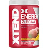 XTEND Energy BCAA Powder Mango | 125mg Caffeine + Sugar Free Pre Workout Muscle Recovery Drink with Amino Acids | 7g BCAAs fo