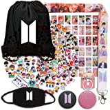 KINON Bangtan Boys Gifts Set for Army, Map of The Soul Persona, Including Drawstring Bag, Stickers, Mask, Lomo Card, Lanyard,