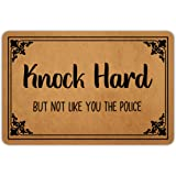 Front Door Mat Entrance Floor Mat Knock Hard But Not Like You The Police Funny Doormat Decorative Indoor Outdoor Doormat, 23.