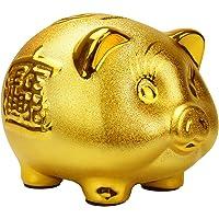 ぶたの貯金箱 ピギーバンク 金色のブタ 貯蓄 金運 開運 縁起物 キャッシュ 500円玉 (大 ゴールド)