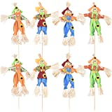 Halloween Fall Harvest Scarecrow Decoration, 8 Pack Small Standing Scarecrow Decor for Autumn, Halloween, Garden, Home, Yard,