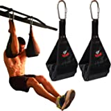 Premium Ab Slings Straps - Rip-Resistant Heavy Duty Pair for Pull Up Bar Hanging Leg Raiser Fitness with Big D-ring Steel Qui