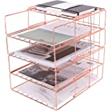 Nugorise Stackable File Tray, 4 Tier Paper Organizer Tray, Wire Desk File Sorter Shelf for Mail, Magazine, Document, Folder,