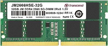 Transcend ノートPC用メモリ PC4-21300(DDR4-2666) 32GB 1.2V 260pin SO-DIMM 2Rx8 (2Gx8) CL19 無期限保証 JM2666HSE-32G