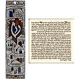 Talisman4U Silver Enamel Jewish MEZUZAH CASE with Scroll Jerusalem Israel Judaica Door Mezuza 4 Inch