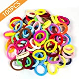 100 PCS Seamless Cotton Hair Ties in Bulk Mixed Colors Ponytail Holder, No Crease Soft Elastic Hair Bands for Baby Toddlers G