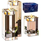 Amazing Home Large Crystal Candle Holders Set of 3 3.1/4.7/6.3 inches HeightPrepackaged Elegant Heavy Solid Square Tealight H