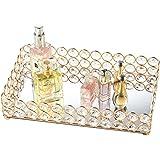 Feyarl Crystal Beads Tray Mirror Cosmetic Tray Rectangle Gold Mirro Tray Jewelry Holder Tray Makeup Organizer Tray (Gold)