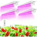 (Pack of 4) SHOPLED LED Grow Lights, Full Spectrum LED 80W(20W x 4), T8 2FT Integrated Fixture Lamp, Linkable Plug and Play,