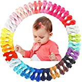 50Pcs 2Inch Mini Hair Clips for Baby Fine Hair Grosgrain Ribbon Hair Bows Clips Fully Lined for Baby Girls Infants Toddlers i