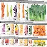 Reusable Food Storage Bags - 24 Pack BPA FREE Flat Freezer Bags(8 Reusable Gallon Bags + 8 Leakproof Reusable Sandwich Bags +