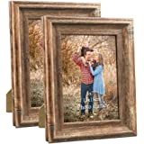 Dreamyard 2-Pack Picture Frames Set Wood Vintage Family Art Photo Frame for Tabletop Stand or Wall Hanging, 2-pack 5x7