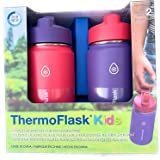 Thermoflask Stainless Steel Kids 14oz Straw Bottle 2pk Punch,Eggplant
