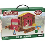 LINCOLN LOGS – Fun On The Farm - 102 Parts - Real Wood Logs - Ages 3+ - Best Retro Building Gift Set for Boys/Girls – Creativ