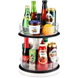 2-Tier Cabinet Turntable Lazy Susan, SEALON 360 Degrees Kitchen Rotatable Shelf Liftable for Condiment Bottles Bowl Spoon For