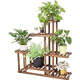 Wood Flower Stand 6 Tiered Plant Stand Flower Rack Wood Plant Ladder Shelf Bonsai Display Shelf Multifunctional Storage Organ