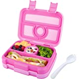 Kids Lunch Box Bento Box for Kids Nomeca BPA-Free Leak Proof 4-Compartment Lunch Container with Spork, Microwave Safe Portion